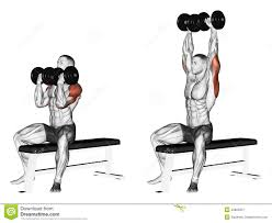 exercising alternating dumbbell bench press with stock