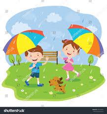 children multicolored umbrellas vector illustration little stock