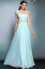 chiffon flare lace one shoulder light blue wedding guest dresses