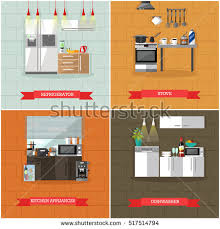 interiors stores clothes technology food smartphone stock vector