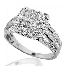 wide band engagement rings princess cut diamond wedding ring 10k white gold large 10mm square