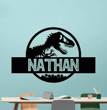custom name jurassic park logo wall decal personalized decal custom name jurassic park logo wall decal personalized decal tyrannosaur vinyl sticker dinosaur t rex wall art design housewares kids room bedroom decor