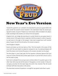 new year u0027s themed family feud printable game new
