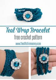 bracelet crochet pattern images Teal wrap bracelet free crochet pattern the stitchin mommy png