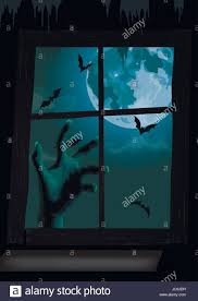 halloween night window view full moon bat rearmouse flittermouse