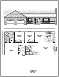 Basic Floor Plan Ranch Home Plan Front View 3 Bedroom Ranch House Back Basic Ranch
