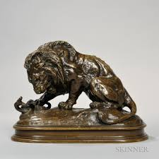 barye lion sculpture search all lots skinner auctioneers