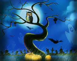 other full moon halloween paintings birds pumpkins cute animals