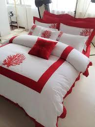 Sateen Duvet Cover King 5 Star Hotel 100 Cotton 60s Sateen Fabric Luxury White And Red