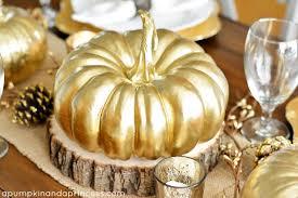 thanksgiving inspired gold table decor dinner a pumpkin