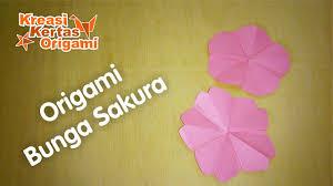 cara membuat origami bunga yang indah cara mudah membuat bunga sakura dari kertas origami youtube