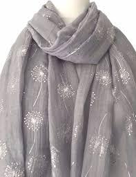floral foil wrap a grey floral scarf silver flowers wrap foil dandelion