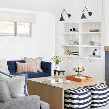 blue striped living room poufs design ideas