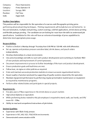 Volunteer Responsibilities Resume Press Operator Resume Free Resume Example And Writing Download