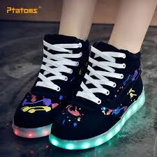 ladies light up shoes high top led colorful valentine shoes fashion usb rechargeable