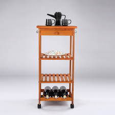 ultideco utility wooden kitchen rolling cart with wine rack