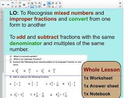 whole lesson converting fractions mixed to improper fractions