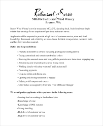 Server Duties On Resume Server Job Description Job Resume Sample Fine Dining Server