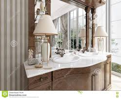 luxury neoclassical furniture in modern style in bathroom