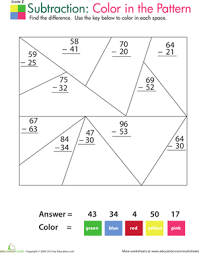 color by number practice two digit subtraction 1 worksheet