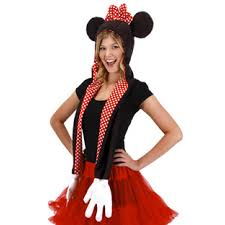 disney minnie mouse hoodie hat with attached scarf with mittens
