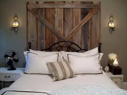 rustic design bedroom with reclaimed wooden wall headboard and