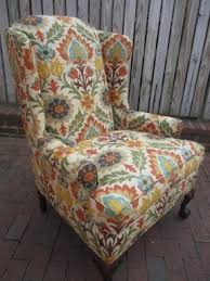 Floral Accent Chairs Living Room Green Wingback Chair Foter