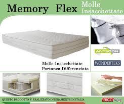 materasso singolo a molle materasso memory mod memory flex con molle insacchettate singolo