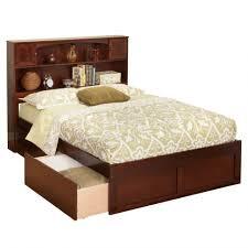 Flat Platform Bed Bedroom Walnut Flat Platform Bed Frame With Storage Drawer And