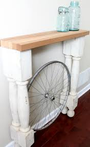 White Foyer Table Decor Stylish Dream Home Foyer Table With Bicycle Wheel Small