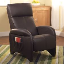 Ergonomic Reading Chair Bedroom Cherry Finished Leather Recliner And Ottoman With Rounded