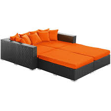 Orange Wicker Patio Furniture - amazon com lexmod palisades 4 piece outdoor wicker patio