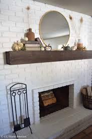 easy diy painted brick fireplace and floating mantle