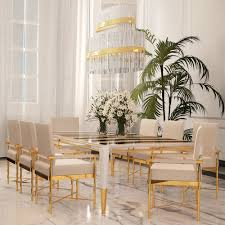 dining table sets exclusive high end luxury chic high end designer polished brass veneered dining set