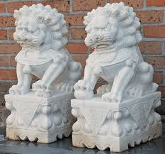 foo dogs for sale asian decor pair of carved marble fu dogs from hebei province china