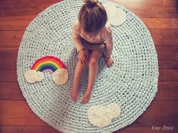 Round Kids Rug by Kids Rug Reach For The Stars Navy Cotton Crochet Rug With