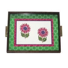 handicrafts for home decoration wooden sunflower motif tray green folkbridge com buy gifts