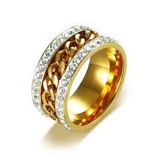 gold hand rings images Ring men jewelry stainless steel crystal rhinestones hand spinner jpg