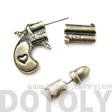 gun earrings 3d realistic gun pistol and bullet stud earrings in