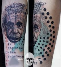 forearm quote tattoos albert einstein inspired graphic style tattoo on the forearm