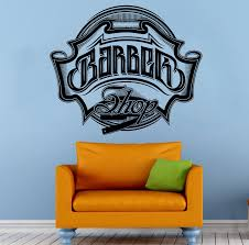 barber shop emblem wall vinyl decal housewares barbershop logo art