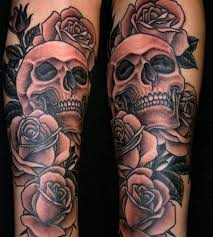 rose and skull sleeve tattoos for men and women popular tattoo ideas