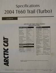 spec sheet for u002705 t660 turbo touring arcticchat com arctic