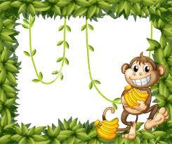 illustration of a happy monkey holding bananas on a white