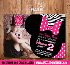 minnie mouse thank you cards printable minnie mouse birthday invitation or second