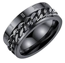 titanium chain rings images Alextina men 39 s 8mm stainless steel spinner chain ring roman number jpg