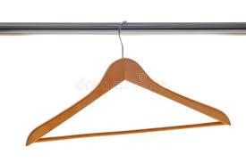 classic wood clothes hanger on coat closet bar stock image image