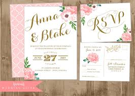 Wedding Invitation Cards Singapore Printable Wedding Invitation Suite Pink And Gold Vintage Postcard
