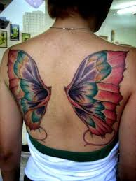 colorful butterfly wings on back butterfly tattoos