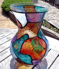 Glass Vase Painting Big Shapely Stained Glass Painted Vase By Diane G Casey From